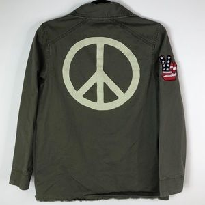 Peace Sign Patchwork Military Green Jacket